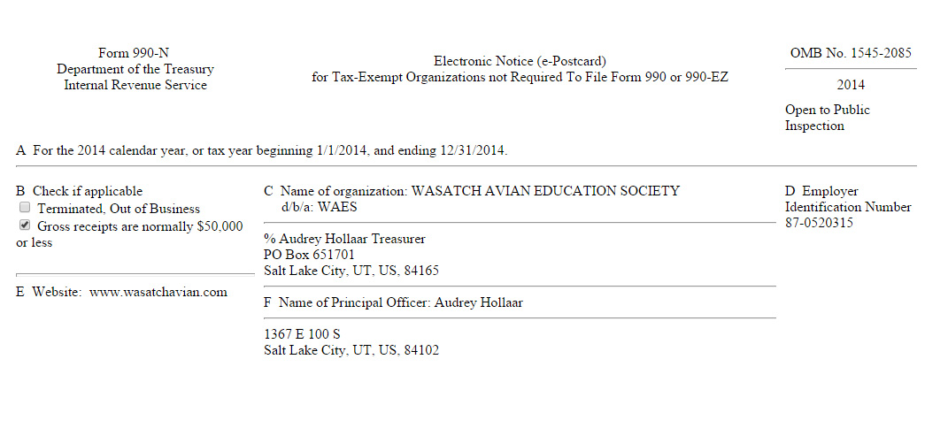 Wasatch Avian Education Society Irs Form 990 N
